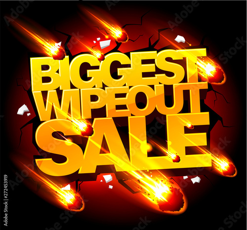 Biggest wipeout sale banner concept with meteorites rain