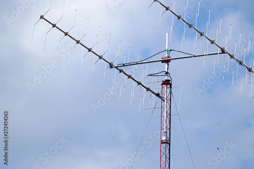Valokuvatapetti small amateur radio antenna tower and masts for communication between residents