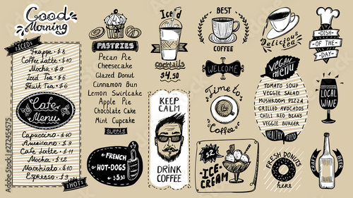 Poster Affiche vintage Cafe menu list, hand drawn doodle graphic illustration with pastries and drinks, vegan menu, coffee and tea symbols, ice cream and iced cocktails, hot dogs and donuts