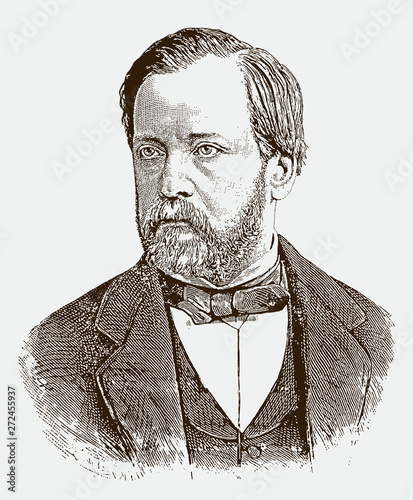 Historical portrait of Louis Pasteur the famous french scientist Canvas Print