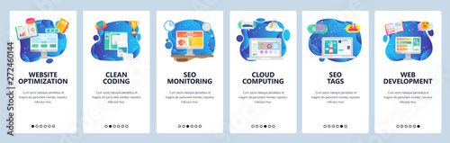 Mobile app onboarding screens. Web and seo optimization, cloud computing, software development. Menu vector banner template for website and mobile development. Web site design flat illustration - 272460144