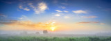 Fototapeta Fototapety na ścianę - summer landscape panorama with sunrise and fog