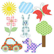 Cute Retro Elements. Applique Of Tissue. In The Children's Style. For Your Design.Vector Illustration. EPS 10