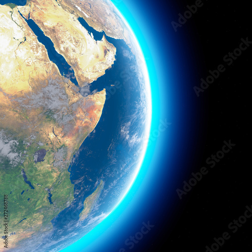 Physical map of the world, satellite view of the Middle East