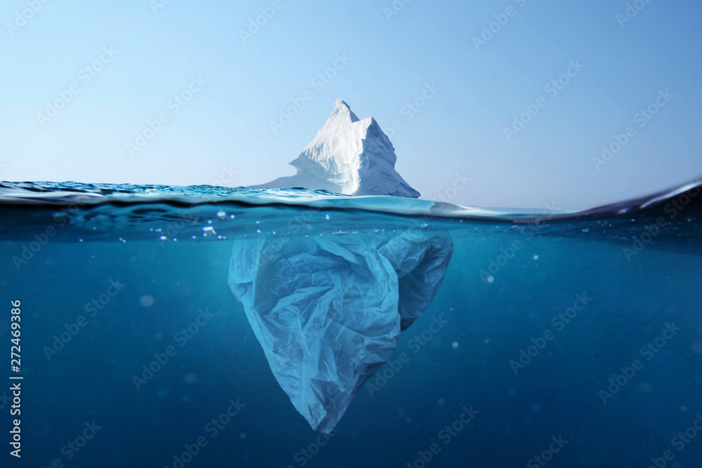 Fototapeta Iceberg - plastic bag with a view under the water. Pollution of the oceans. Plastic bag environment pollution with iceberg.
