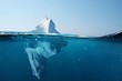 canvas print picture - Iceberg in the ocean with a view under water. Crystal clear water. Hidden Danger And Global Warming Concept