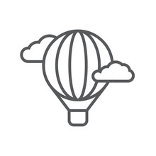 Hot Air Balloon Line Icon. Min...
