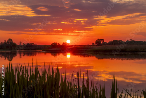 Fototapeta Sunset above the pond or lake with cloudy sky at summer and water reflection. obraz na płótnie