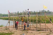 NAKHONPHANOM, THAILAND - APRIL 11, 2019 -  Villagers Were Preparing Thai Rockets In Rocket Festival