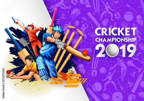 Carta da parati illustration of batsman playing cricket championship sports 2019