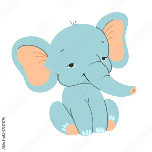 Photo  Cute baby elefant sitting. Funny blue elefant with for design