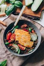 Lentil Salad With Crispy Tofu, Cherry Tomatoes And Sliced Cucumber