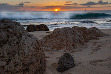 Beach Seascapes With Crashing Waves Rocky Shore And Setting Sun