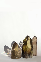 Three Crystals  On White Backg...