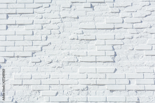 Old brick wall painted white - 272481163