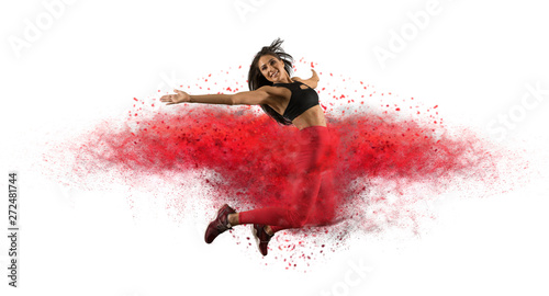 Naklejki taniec girl-wearing-red-leggings-jumping-with-red-dust-image