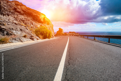 Foto auf Leinwand Lachs Summer road background and free space for your decoration. Gran Canaria island