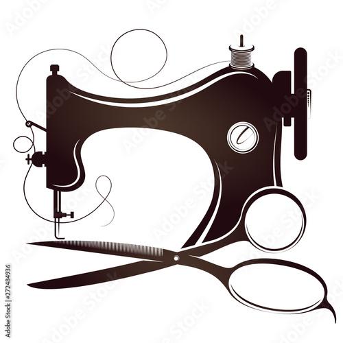 Fotografia, Obraz Sewing machine and scissors silhouette for sewing
