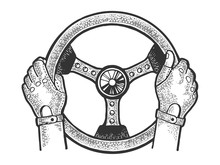 Hands Of Racer On Car Steering Wheel Sketch Engraving Vector Illustration. Scratch Board Style Imitation. Black And White Hand Drawn Image.