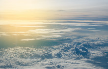 Clouds Seen From An Airplane, Blue Sunshine, Soil Background Nature Landscape
