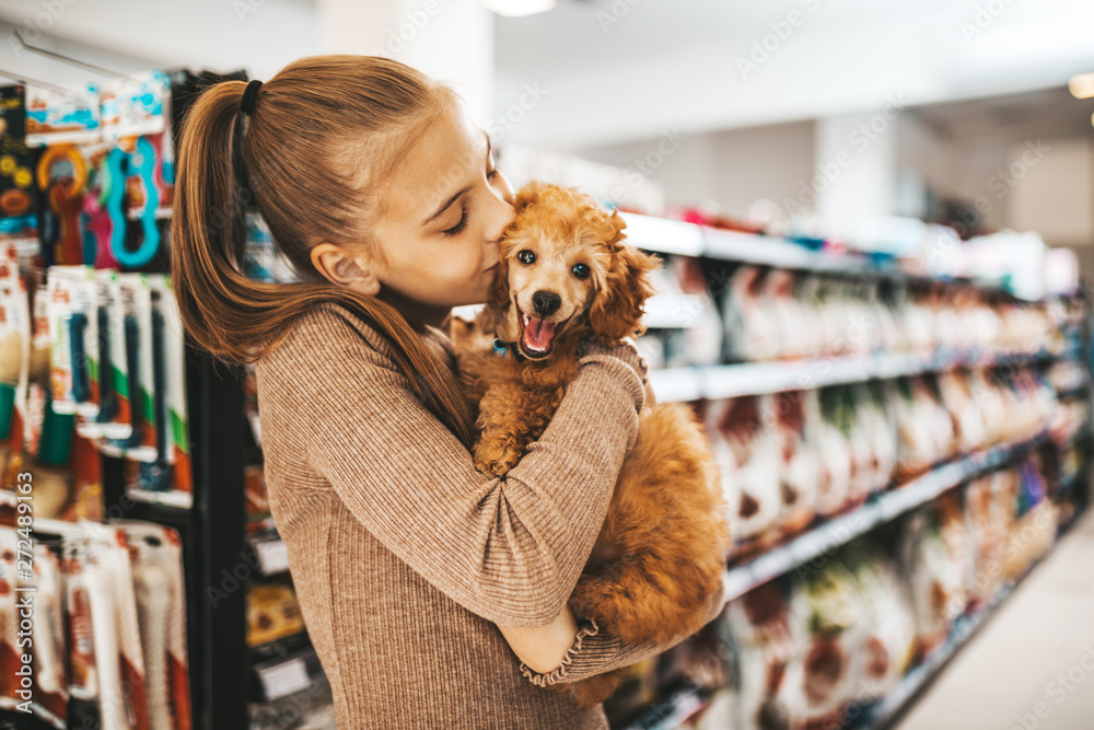 Fototapety, obrazy: Cute girl with her poodle puppy in pet shop.