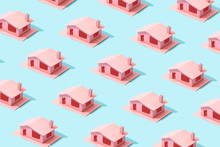 Trendy Sunlight Summer Pattern Made With Pink Paper House On Bright Light Blue Background. Minimal Summer Concept.