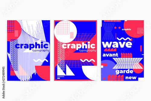 Fotomural Posters set with geometric shapes composition