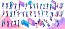 Large Set Of Isometric Teenagers In Bright Clothes With Different Poses And Gestures. Website And Mobile Application Design Kit