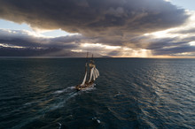 Old Vintage Sailing Vessel Floating In The Arctic Close To Greenland