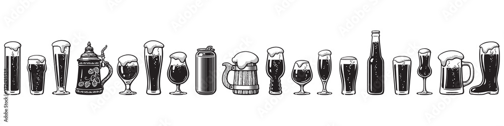 Fototapeta Beer glassware guide. Various types of beer glasses. Hand drawn vector illustration.