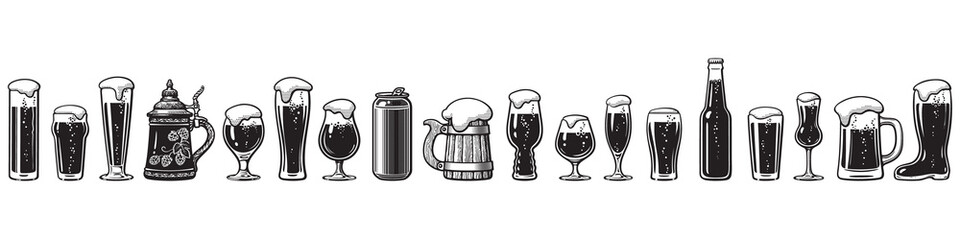 Beer glassware guide. Various types of beer glasses. Hand drawn vector illustration.