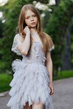 Beautiful Little Girl Wearing Fluffy Dress