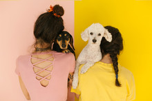 Portrait Of Anonymous Women With Their Cute Dogs