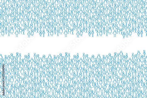 Separated group of blue stick people, blank space for text Canvas Print