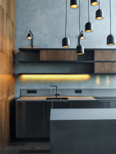 Gray And Wood Interior Of Kitchen