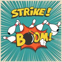 Bowling Club Cartoon Social Media Banner Concept