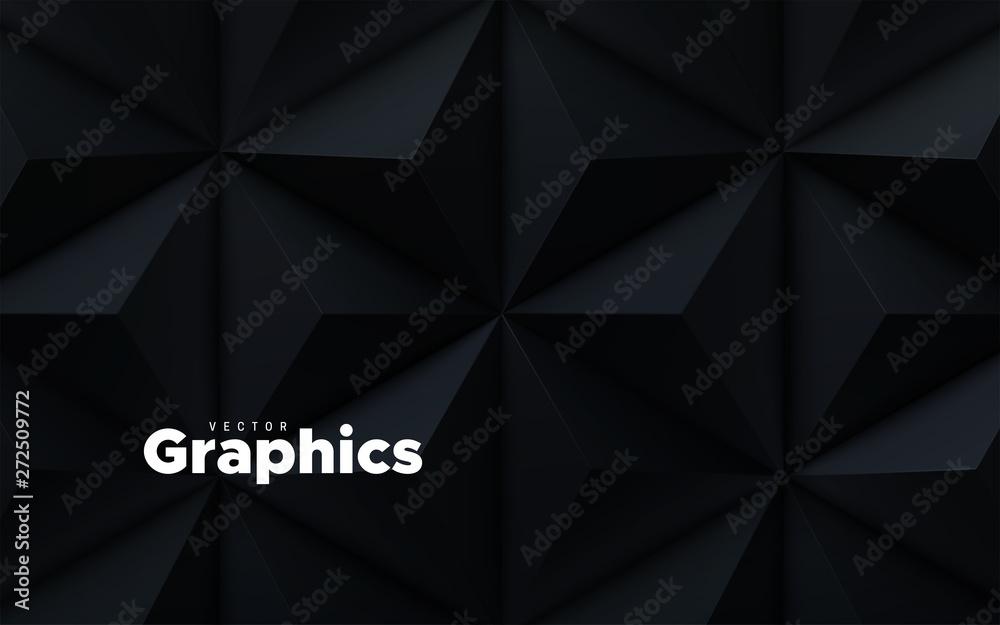 Fototapeta Abstract geometric background. Vector 3d illustration. Triangle or pyramid black shapes. Polygonal tiles backdrop. Minimal cover design. Futuristic element for design