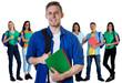 Leinwandbild Motiv Deutsche Student mit Gruppe internationaler Studenten