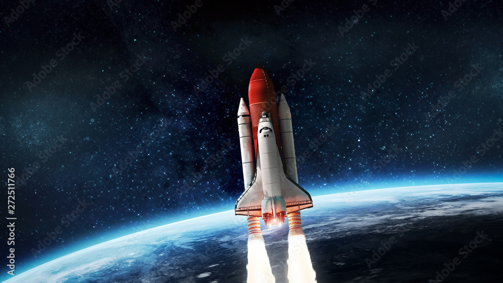 Fototapeta Space shuttle launch in outer space from Earth. Rocket on orbit of the planet. Elements of this image furnished by NASA