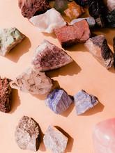 Semi Precious Gemstone On Pink...