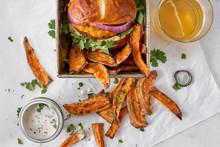 Vegan Burger And Sweet Potatoe Fries