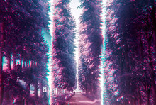 Surreal And Psychedelic Passage Through Purple Forest