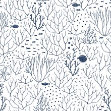 Abstract Texture Seamless Pattern Of Doodle Fishes, Coral Reef, Dots. Vector Dark Blue Illustration On White Background.