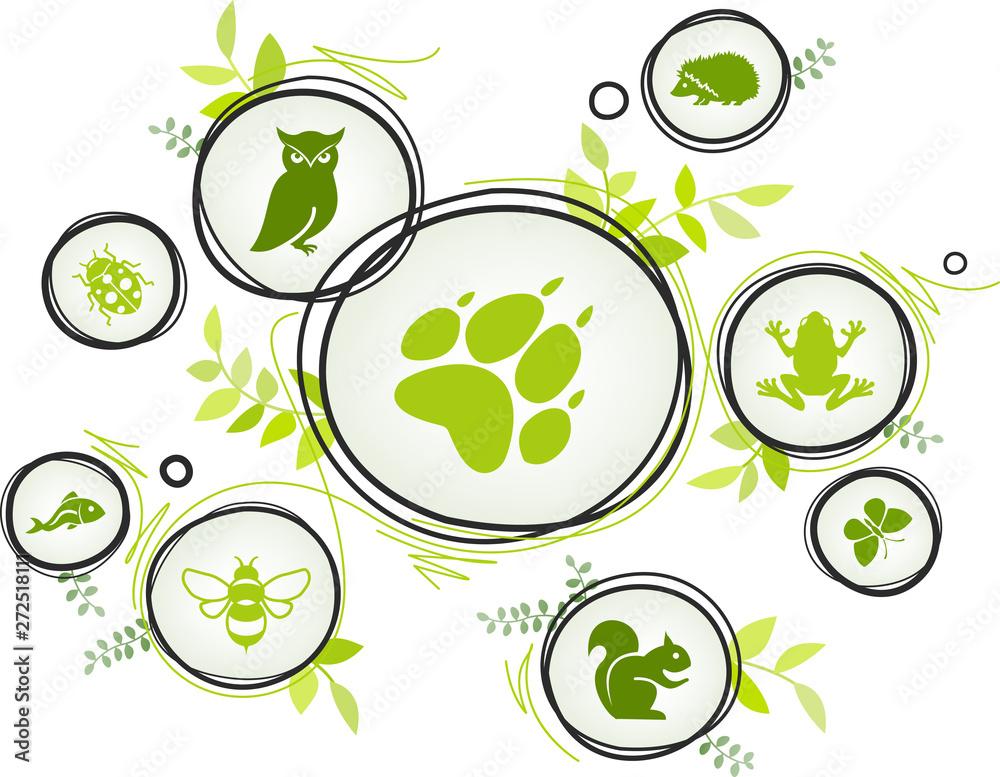 Fototapeta wildlife / biodiversity icon concept – endangered animals icons, vector illustration