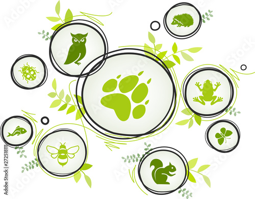 Obraz na płótnie wildlife / biodiversity icon concept – endangered animals icons, vector illustra