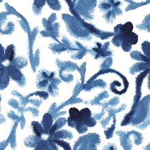 Watercolor Blue Vintage Background With Blooming Flowers. Chinese Pattern. Chinoiserie. Seamless Pattern