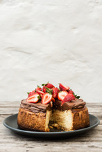 Strawberries On Cheesecake