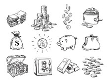Sketch Of Finance Money Set. S...