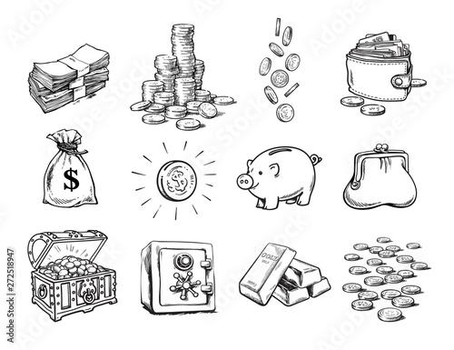 Fototapeta Sketch of finance money set