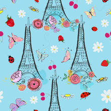 Paris, Eiffel Tower And Spring Time Flowers, Strawberry, Daisy, Ladybug, Cherry And Butterflies
